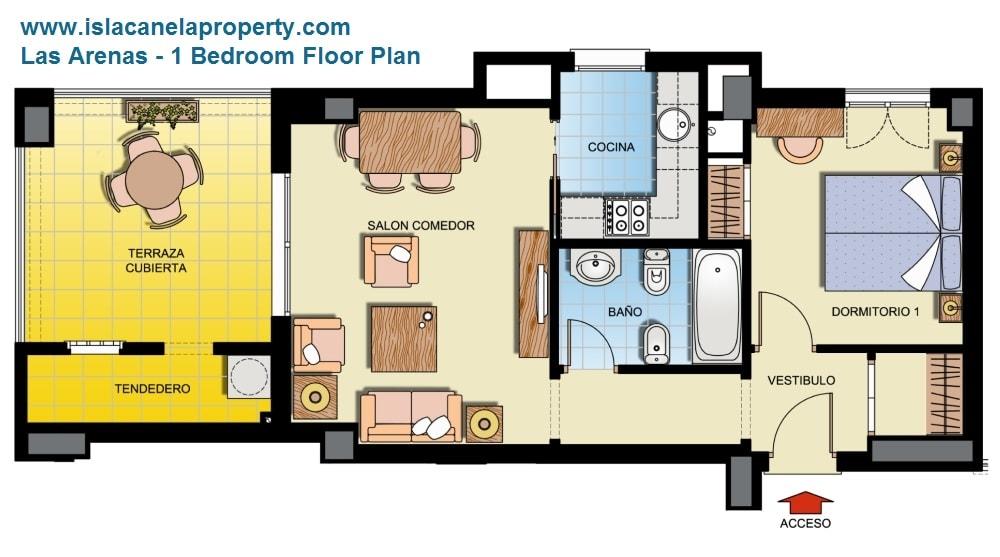 Las Arenas 1 bed floorplan-min