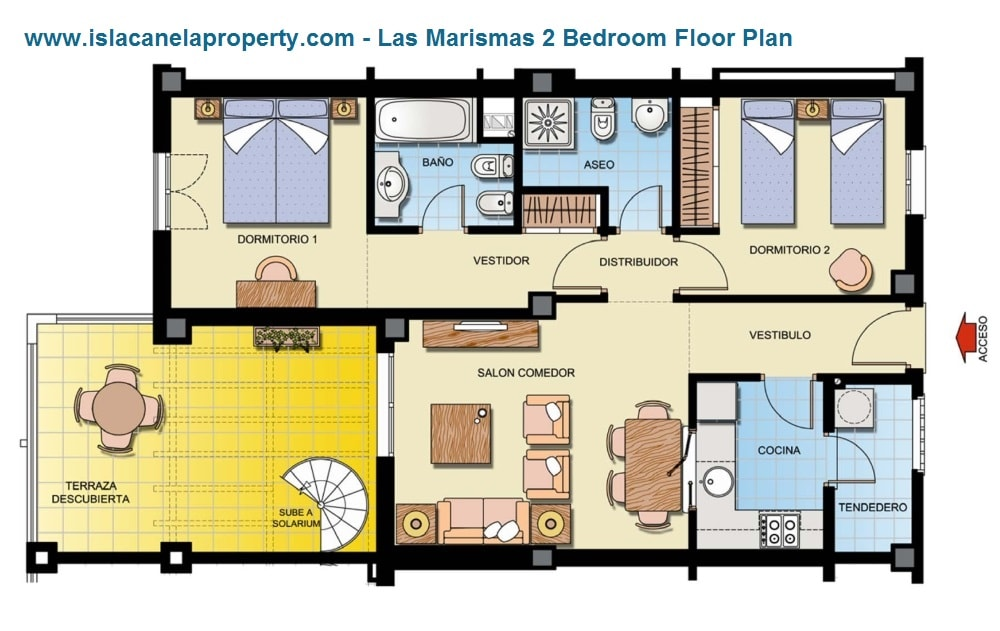 las marismas 2 bed floor plan-min