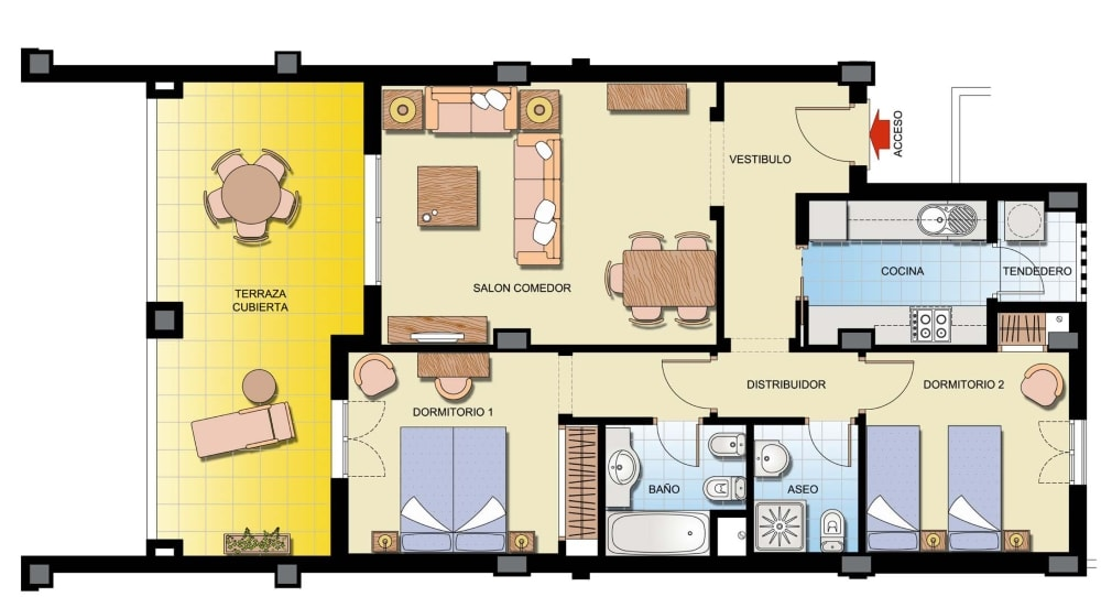 las palmeras 2 bed floorplan-min